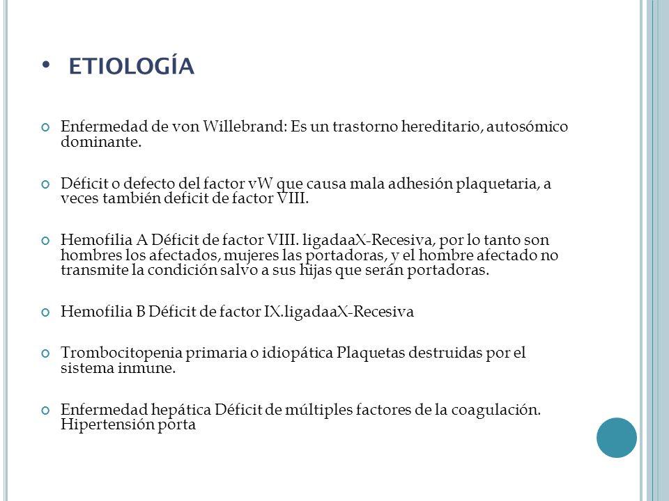 etiología Enfermedad de von Willebrand: Es un trastorno hereditario, autosómico dominante.