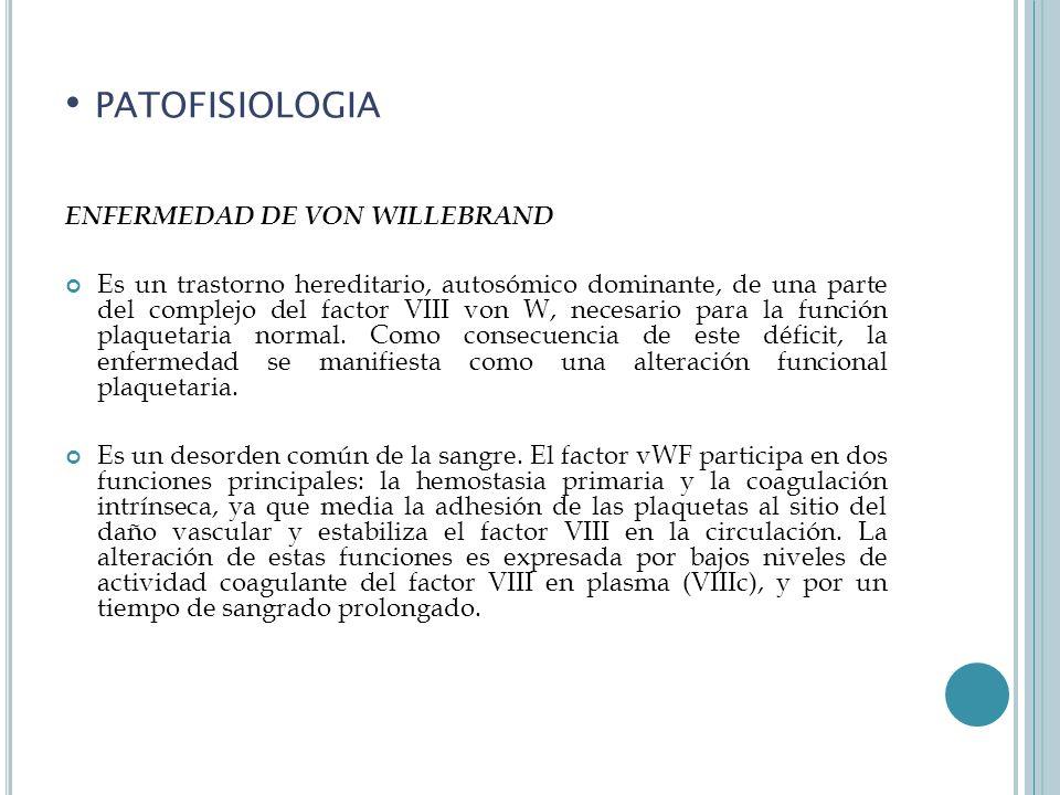patofisiologia ENFERMEDAD DE VON WILLEBRAND