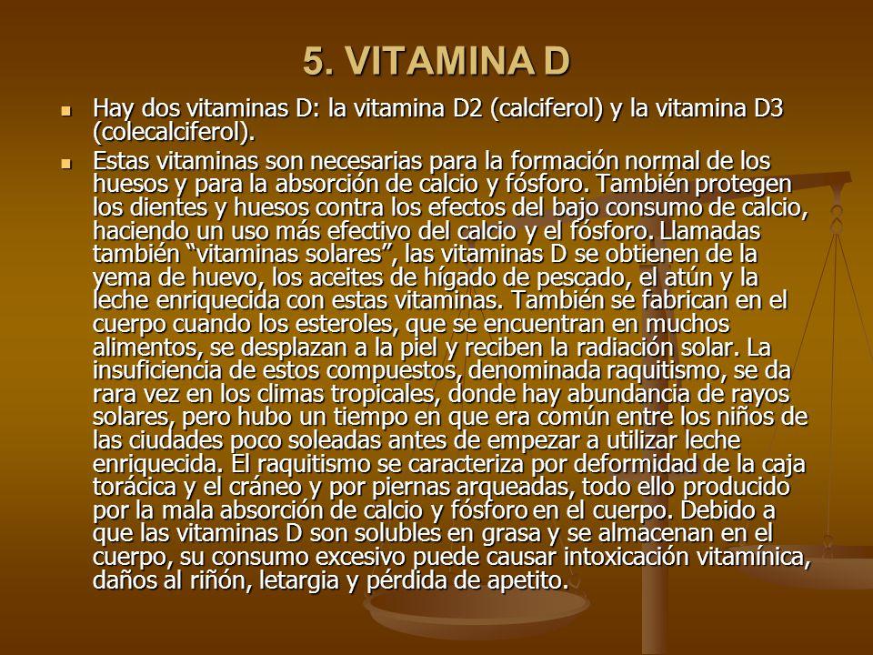 5. VITAMINA D Hay dos vitaminas D: la vitamina D2 (calciferol) y la vitamina D3 (colecalciferol).