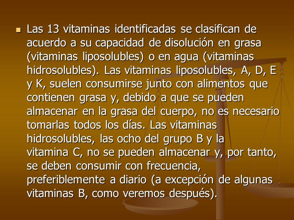Las 13 vitaminas identificadas se clasifican de acuerdo a su capacidad de disolución en grasa (vitaminas liposolubles) o en agua (vitaminas hidrosolubles).