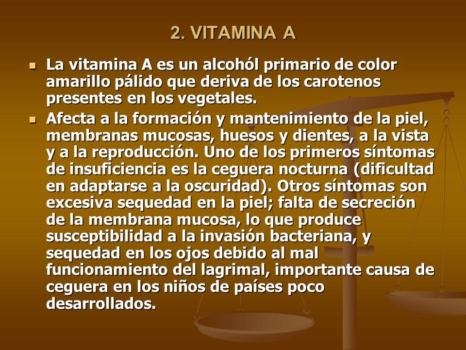 2. VITAMINA A La vitamina A es un alcohól primario de color amarillo pálido que deriva de los carotenos presentes en los vegetales.