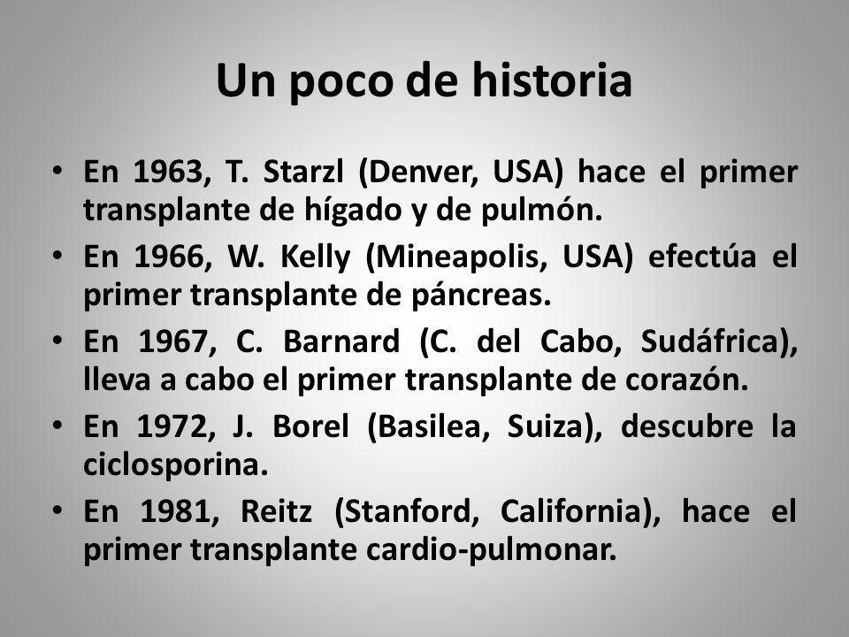 Un poco de historia En 1963, T. Starzl (Denver, USA) hace el primer transplante de hígado y de pulmón.