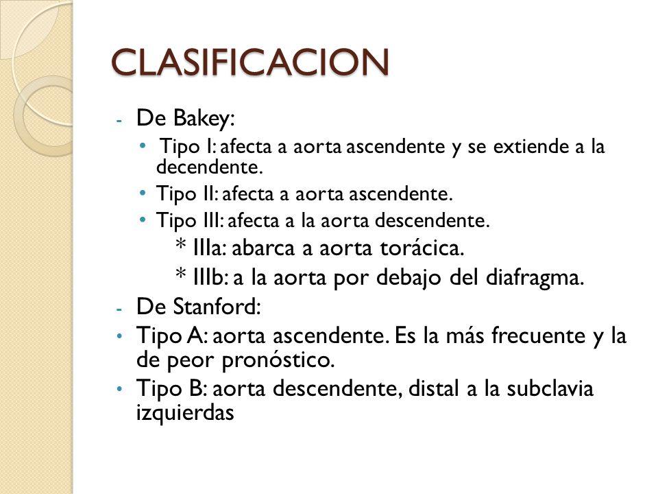 CLASIFICACION De Bakey: * IIIa: abarca a aorta torácica.