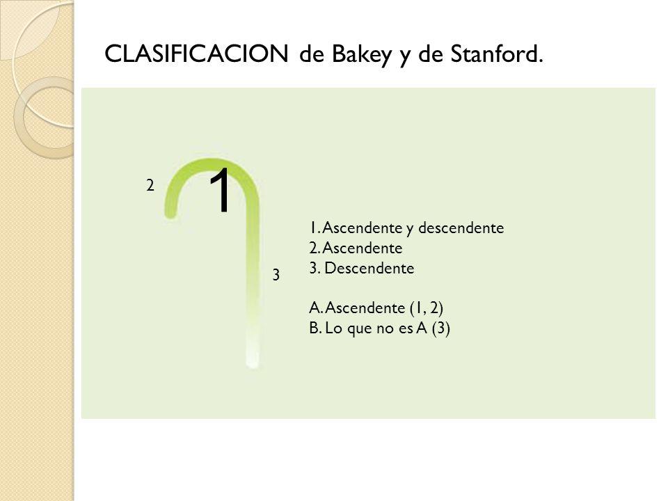 1 CLASIFICACION de Bakey y de Stanford. 2 1. Ascendente y descendente