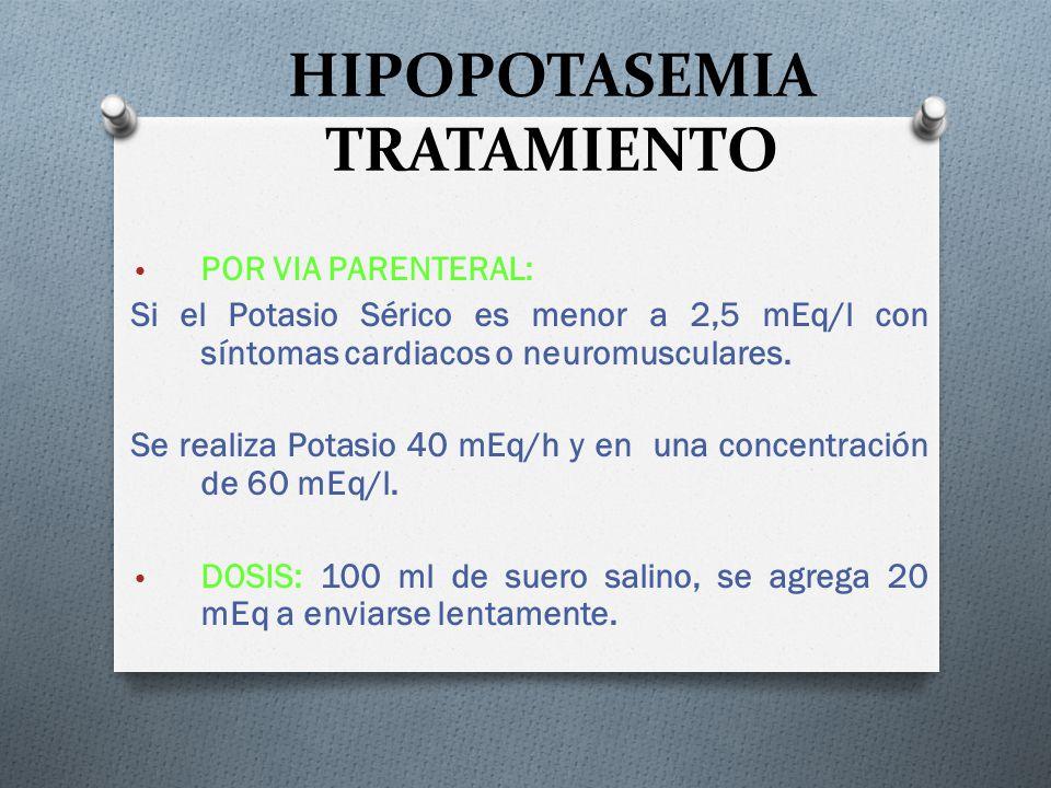 HIPOPOTASEMIA TRATAMIENTO