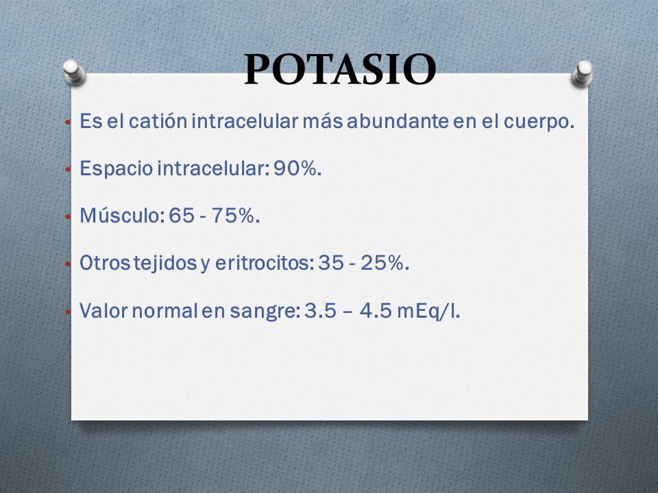 POTASIO Es el catión intracelular más abundante en el cuerpo.