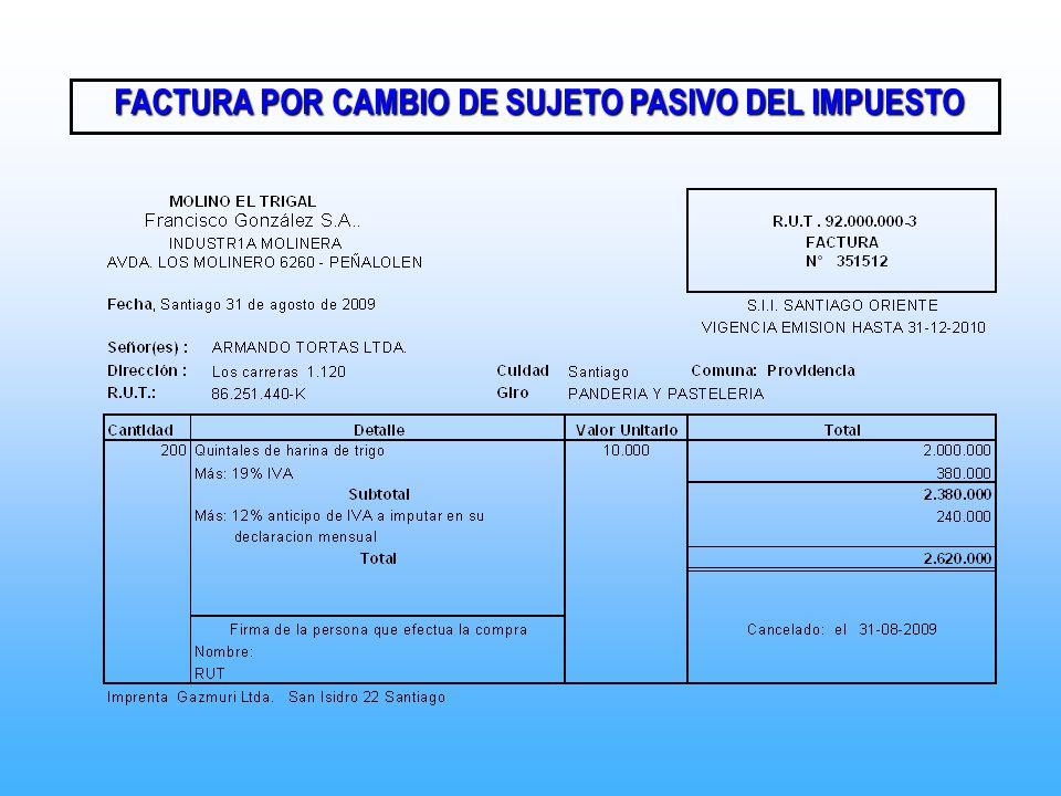 FACTURA POR CAMBIO DE SUJETO PASIVO DEL IMPUESTO