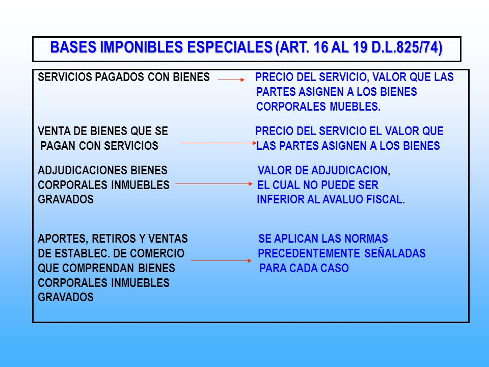 BASES IMPONIBLES ESPECIALES (ART. 16 AL 19 D.L.825/74)