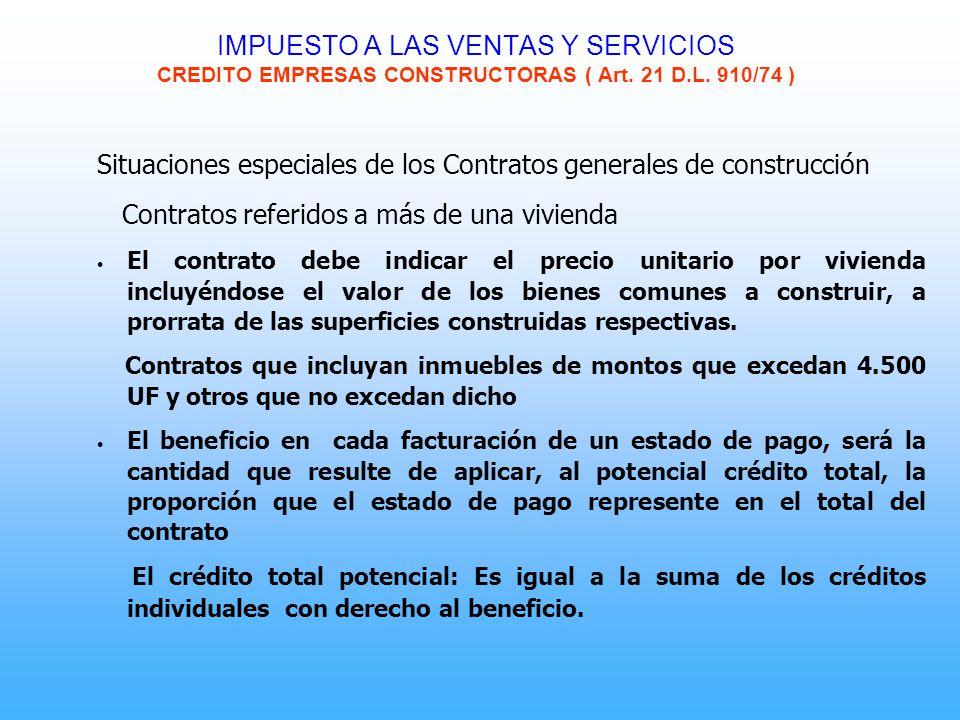 Situaciones especiales de los Contratos generales de construcción