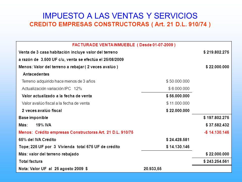 FACTURA DE VENTA INMUEBLE ( Desde 01-07-2009 )