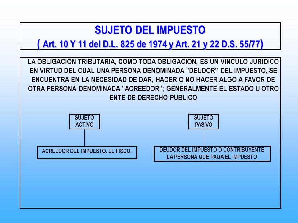 ( Art. 10 Y 11 del D.L. 825 de 1974 y Art. 21 y 22 D.S. 55/77)
