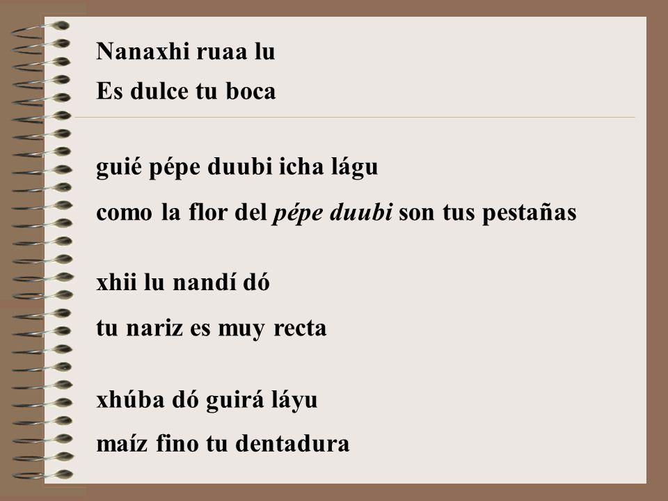 Nanaxhi ruaa lu Es dulce tu boca. guié pépe duubi icha lágu. como la flor del pépe duubi son tus pestañas.
