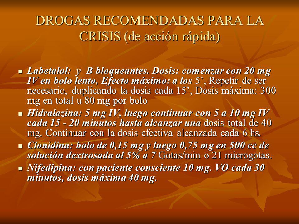 DROGAS RECOMENDADAS PARA LA CRISIS (de acción rápida)