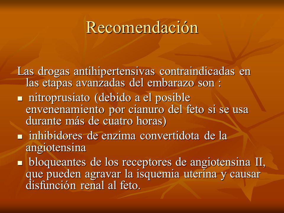 Recomendación Las drogas antihipertensivas contraindicadas en las etapas avanzadas del embarazo son :