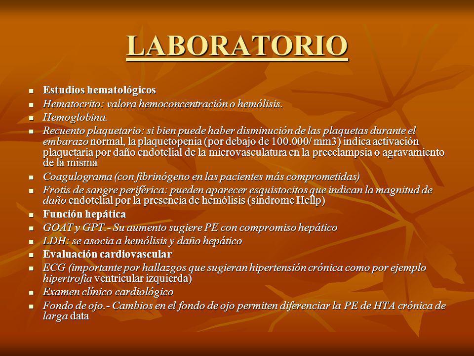 LABORATORIO Estudios hematológicos