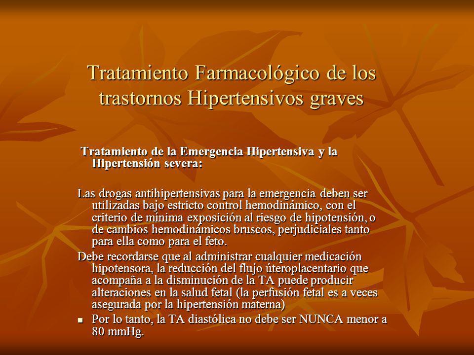 Tratamiento Farmacológico de los trastornos Hipertensivos graves