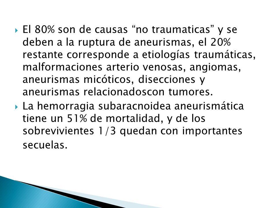 El 80% son de causas no traumaticas y se deben a la ruptura de aneurismas, el 20% restante corresponde a etiologías traumáticas, malformaciones arterio venosas, angiomas, aneurismas micóticos, disecciones y aneurismas relacionadoscon tumores.