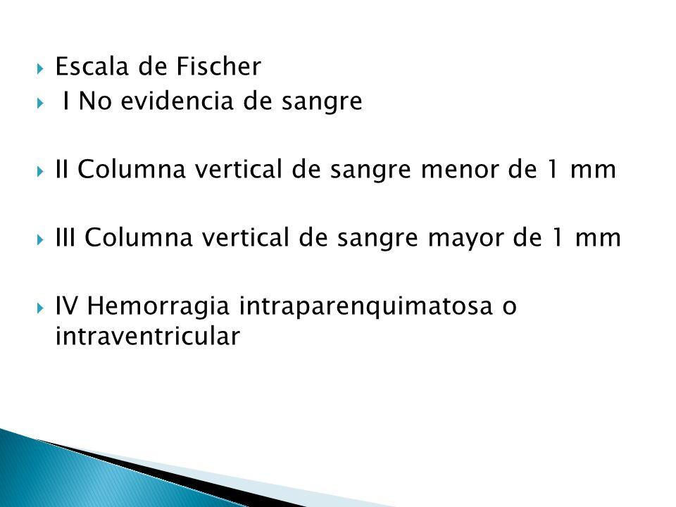 Escala de Fischer I No evidencia de sangre. II Columna vertical de sangre menor de 1 mm. III Columna vertical de sangre mayor de 1 mm.