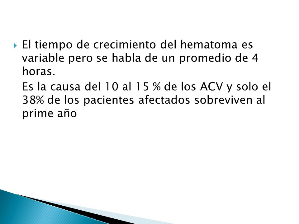 El tiempo de crecimiento del hematoma es variable pero se habla de un promedio de 4 horas.
