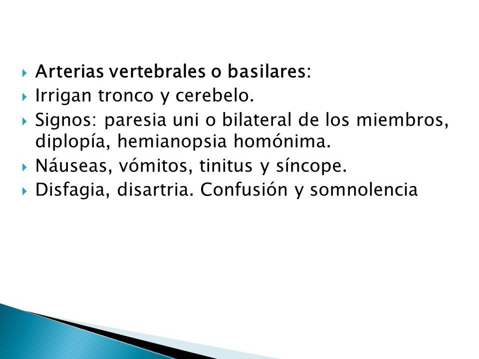 Arterias vertebrales o basilares: