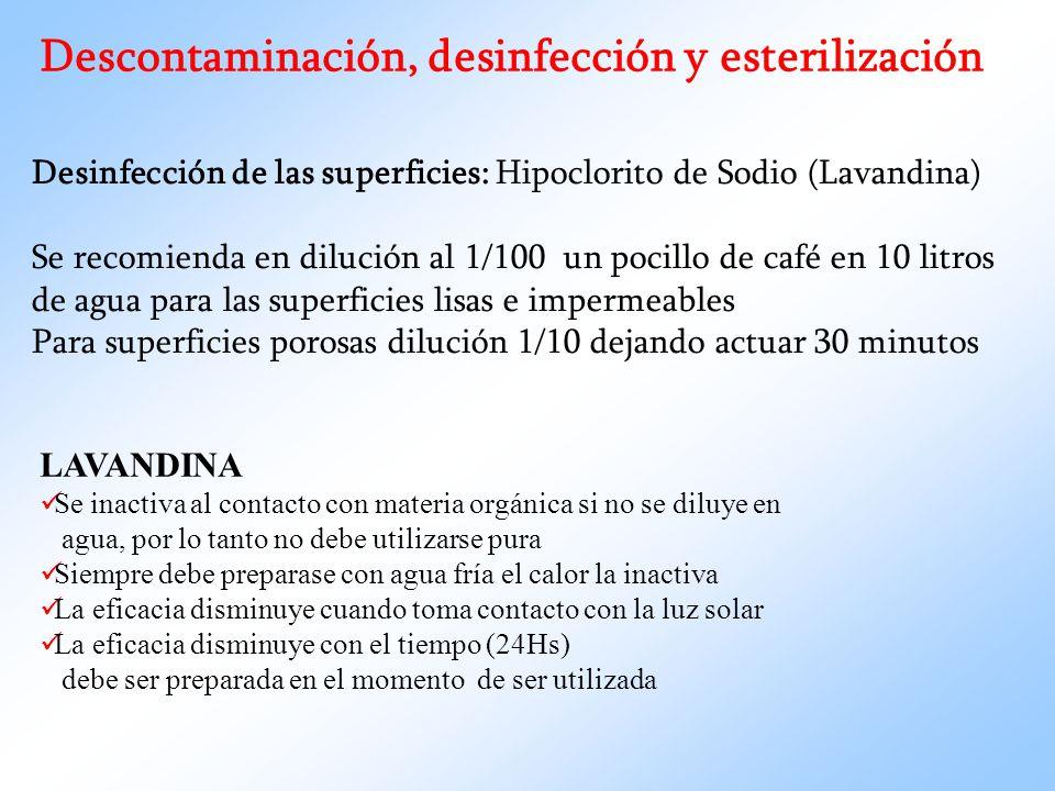 Descontaminación, desinfección y esterilización