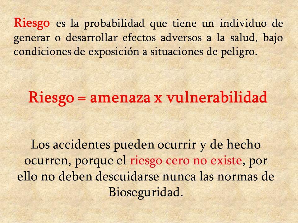 Riesgo = amenaza x vulnerabilidad