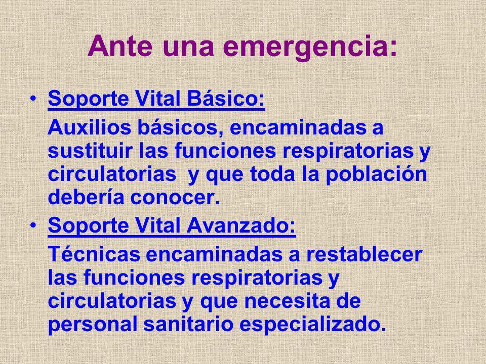 Ante una emergencia: Soporte Vital Básico: