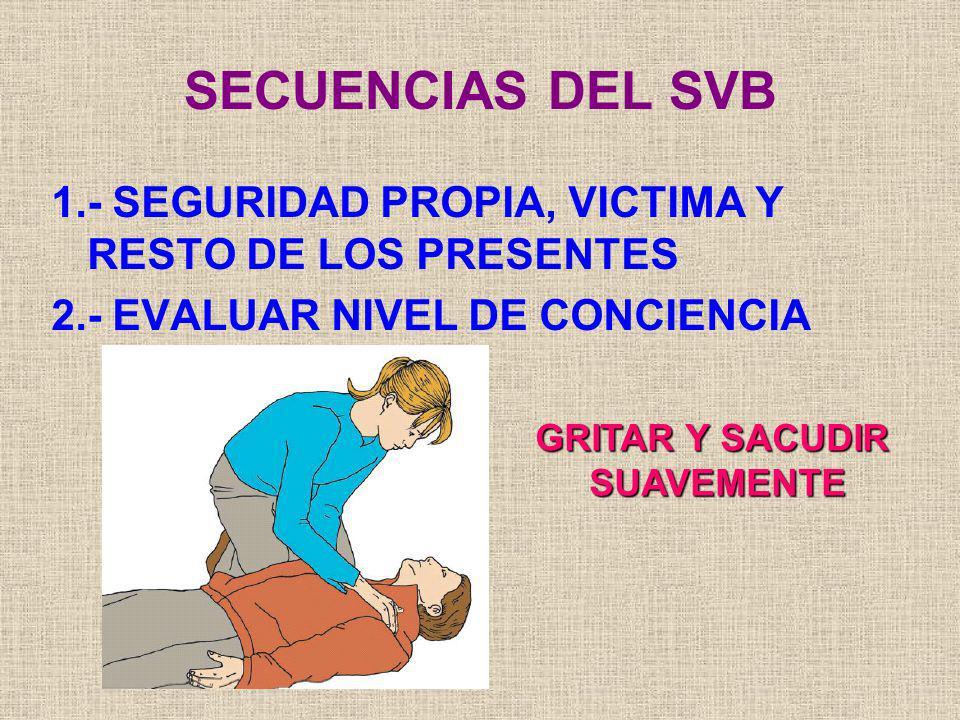 SECUENCIAS DEL SVB 1.- SEGURIDAD PROPIA, VICTIMA Y RESTO DE LOS PRESENTES. 2.- EVALUAR NIVEL DE CONCIENCIA.