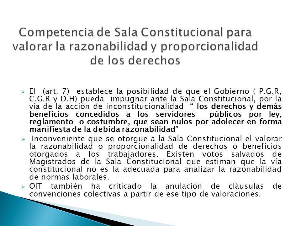 Competencia de Sala Constitucional para valorar la razonabilidad y proporcionalidad de los derechos