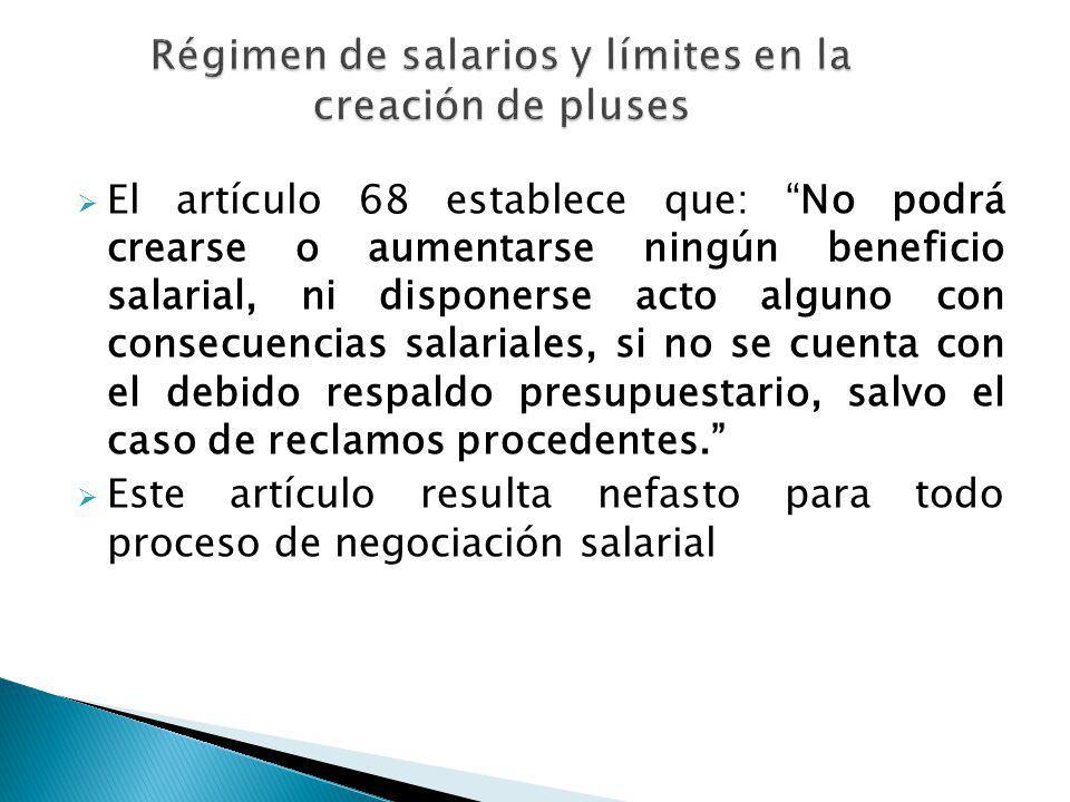 Régimen de salarios y límites en la creación de pluses