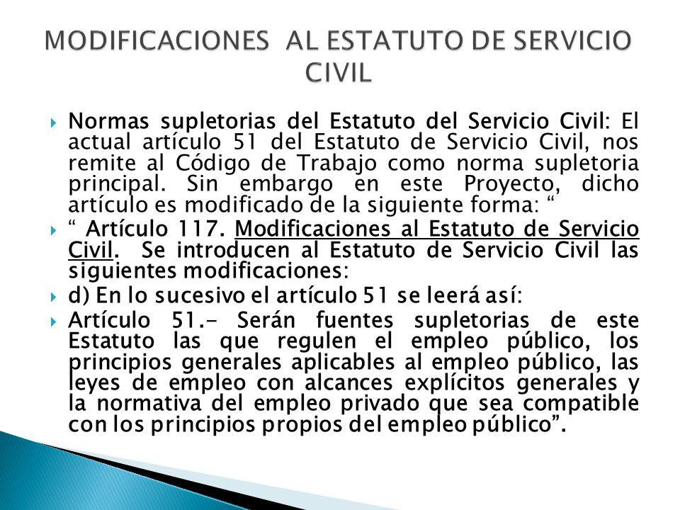 MODIFICACIONES AL ESTATUTO DE SERVICIO CIVIL