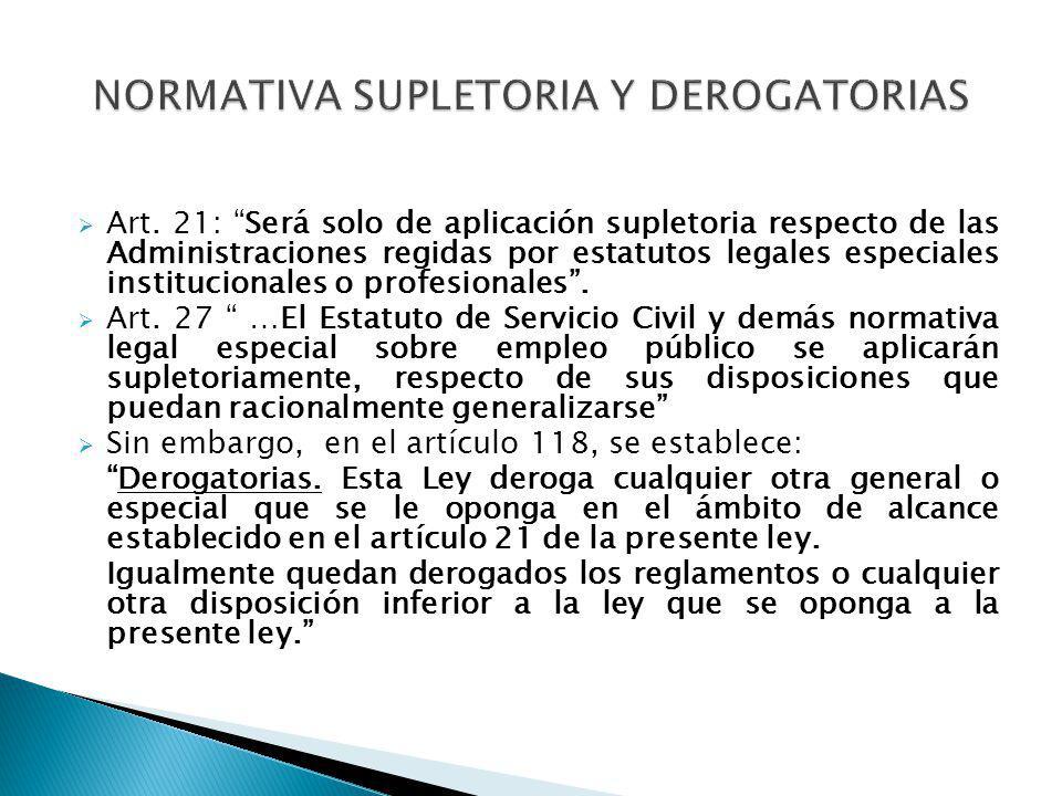 NORMATIVA SUPLETORIA Y DEROGATORIAS