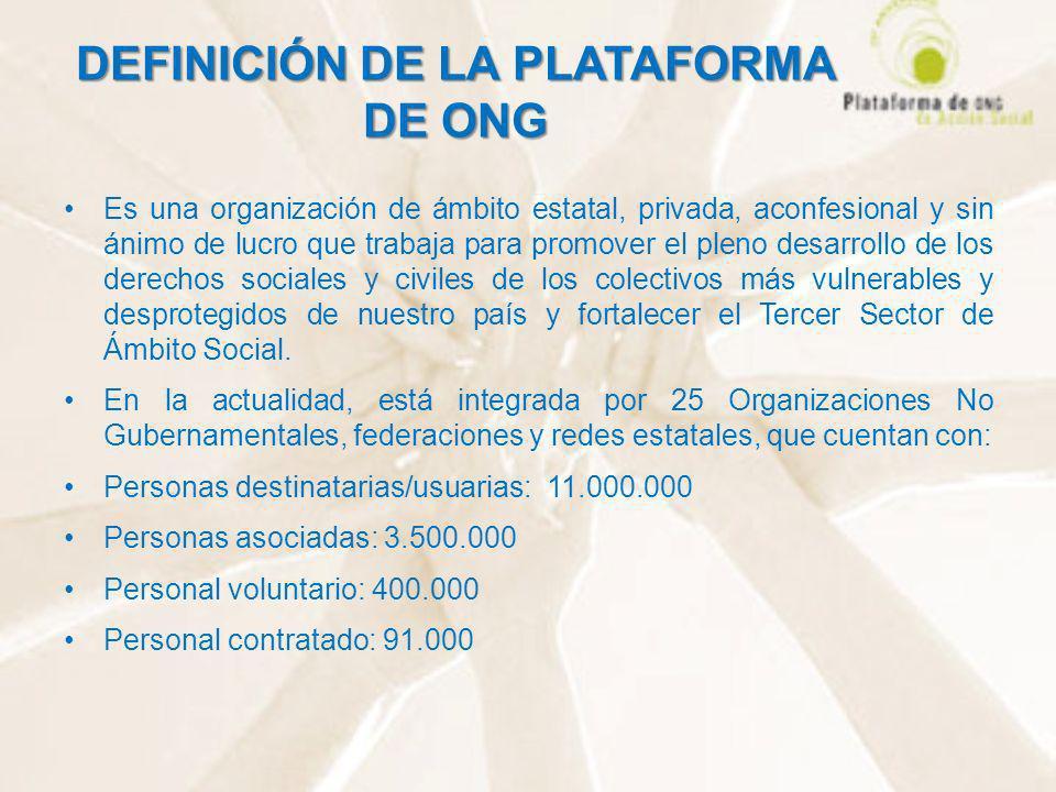 DEFINICIÓN DE LA PLATAFORMA DE ONG