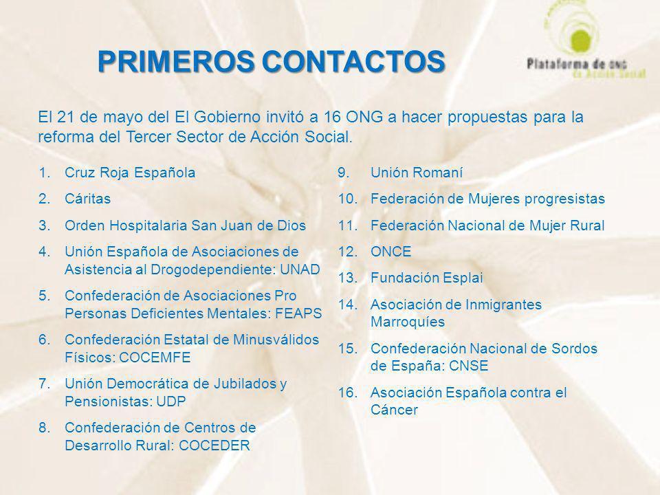 PRIMEROS CONTACTOS El 21 de mayo del El Gobierno invitó a 16 ONG a hacer propuestas para la reforma del Tercer Sector de Acción Social.