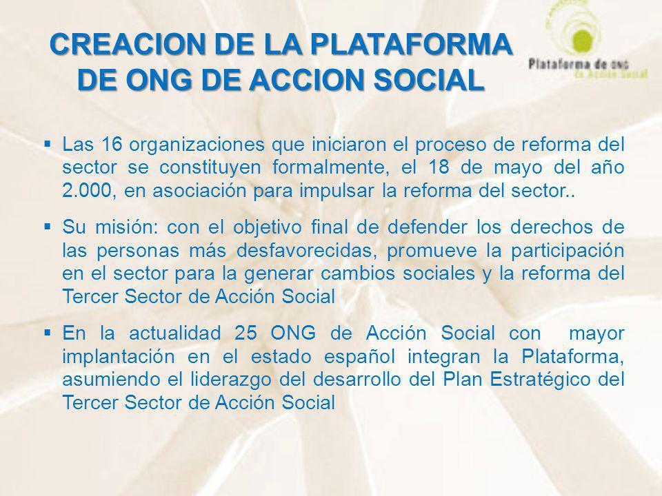 CREACION DE LA PLATAFORMA DE ONG DE ACCION SOCIAL