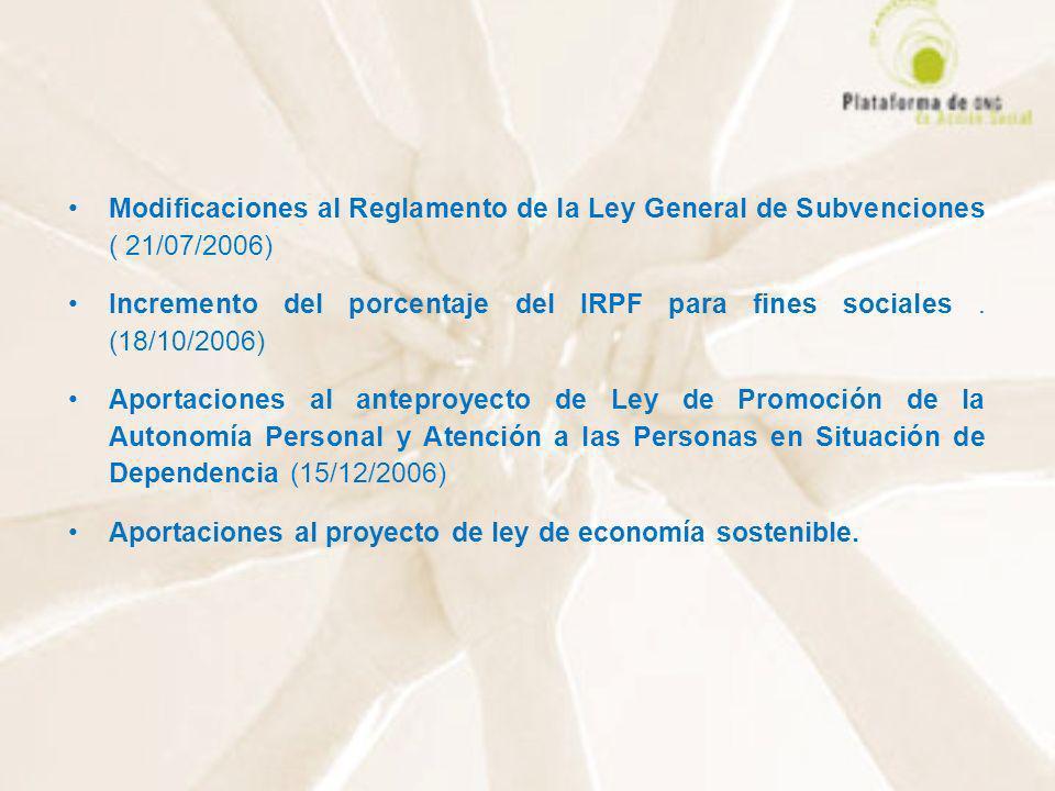 Modificaciones al Reglamento de la Ley General de Subvenciones ( 21/07/2006)