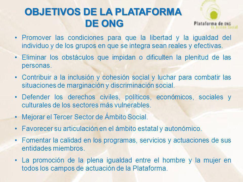 OBJETIVOS DE LA PLATAFORMA DE ONG