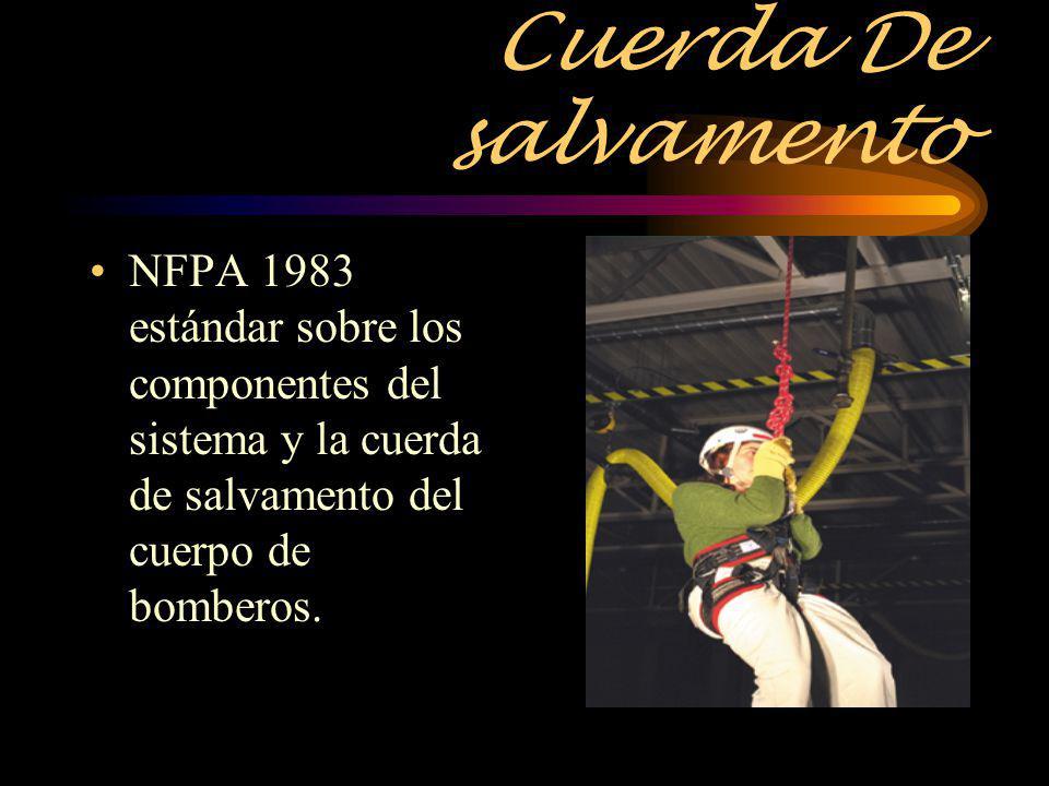 Cuerda De salvamento NFPA 1983 estándar sobre los componentes del sistema y la cuerda de salvamento del cuerpo de bomberos.