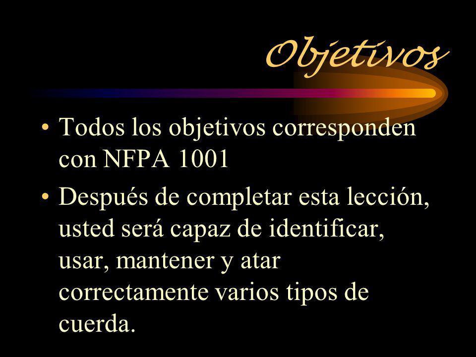 Objetivos Todos los objetivos corresponden con NFPA 1001