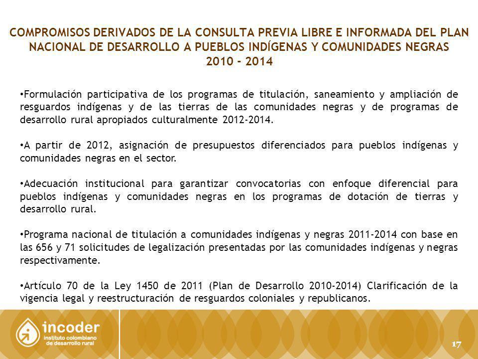 COMPROMISOS DERIVADOS DE LA CONSULTA PREVIA LIBRE E INFORMADA DEL PLAN NACIONAL DE DESARROLLO A PUEBLOS INDÍGENAS Y COMUNIDADES NEGRAS 2010 - 2014