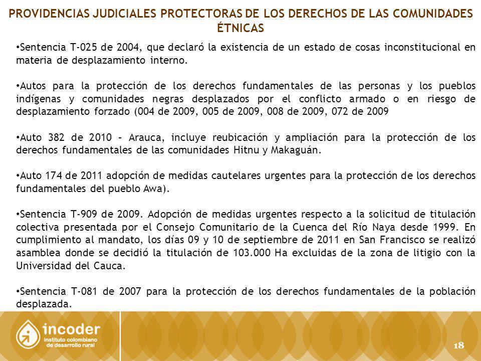 PROVIDENCIAS JUDICIALES PROTECTORAS DE LOS DERECHOS DE LAS COMUNIDADES ÉTNICAS