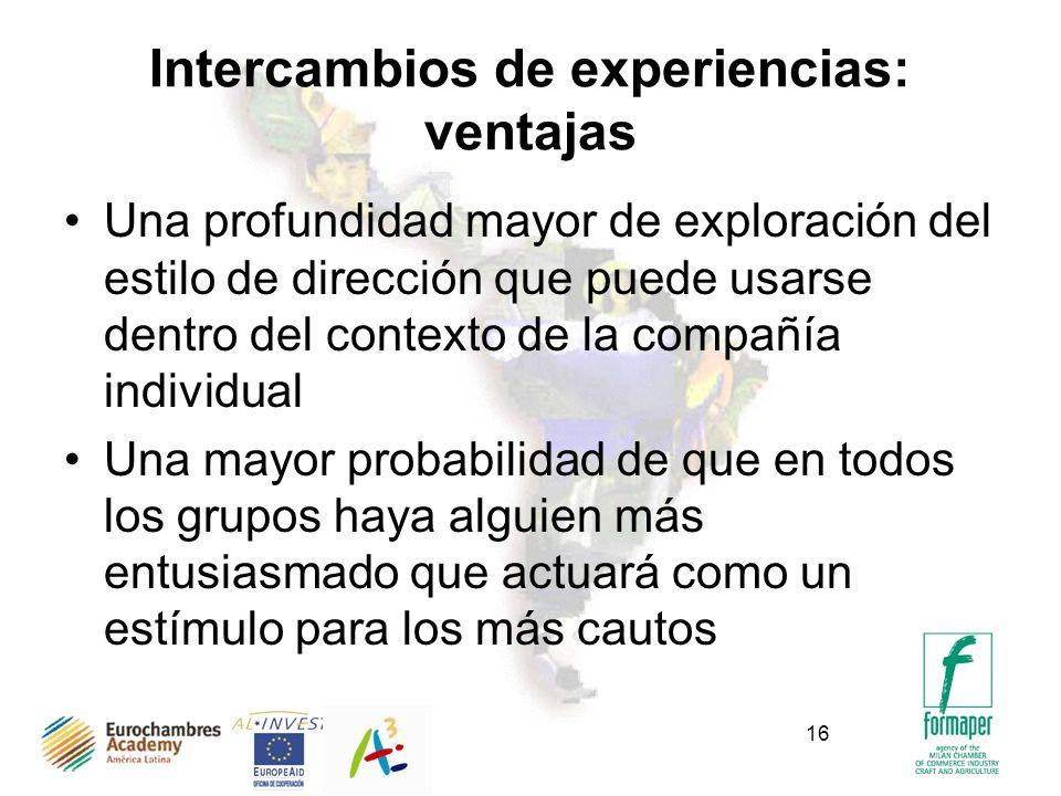 Intercambios de experiencias: ventajas