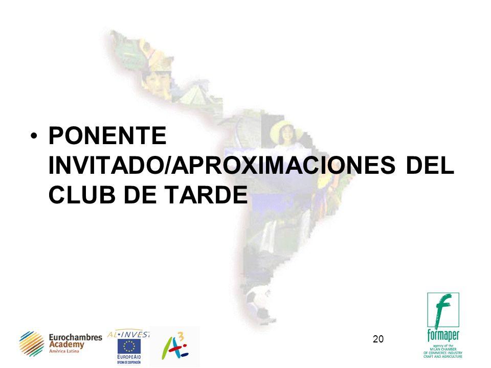 PONENTE INVITADO/APROXIMACIONES DEL CLUB DE TARDE