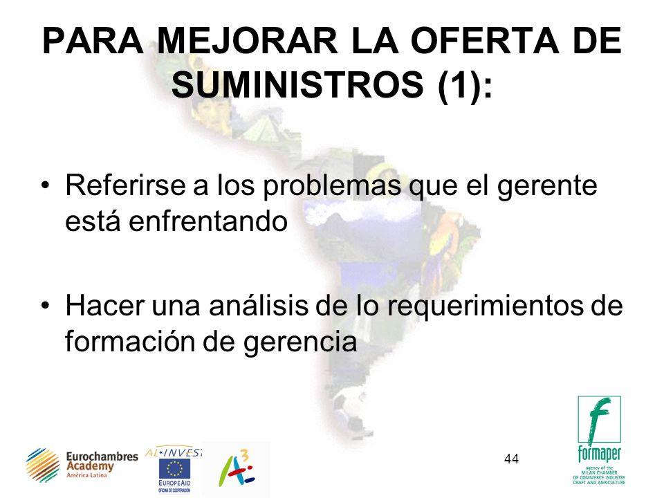 PARA MEJORAR LA OFERTA DE SUMINISTROS (1):