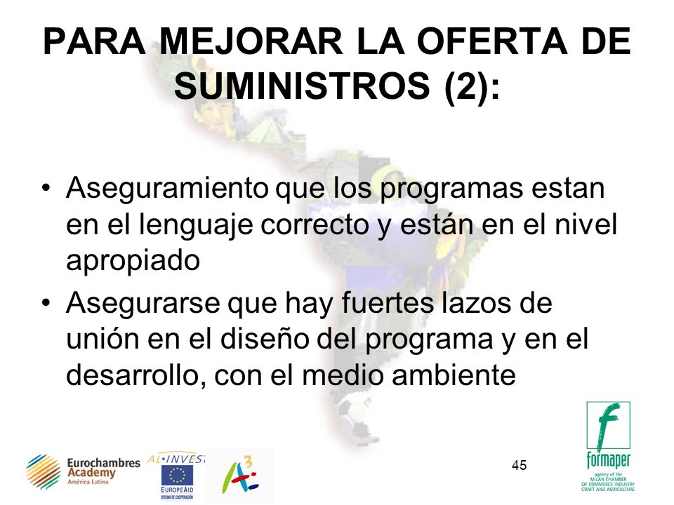 PARA MEJORAR LA OFERTA DE SUMINISTROS (2):