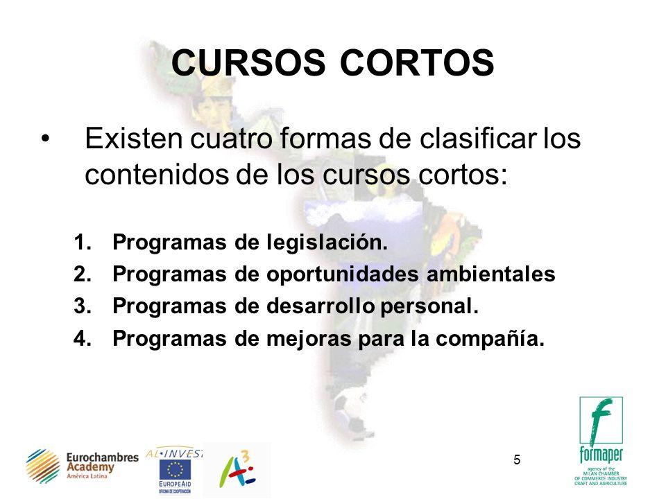 CURSOS CORTOS Existen cuatro formas de clasificar los contenidos de los cursos cortos: Programas de legislación.