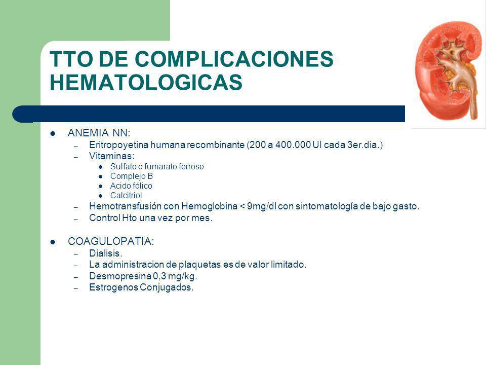 TTO DE COMPLICACIONES HEMATOLOGICAS