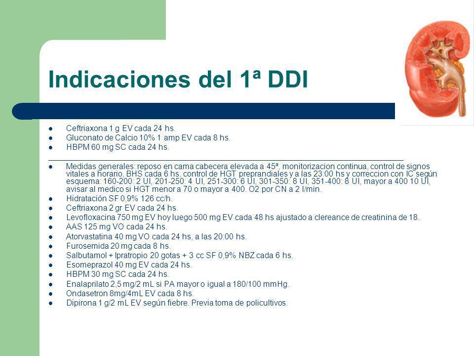 Indicaciones del 1ª DDI Ceftriaxona 1 g EV cada 24 hs.