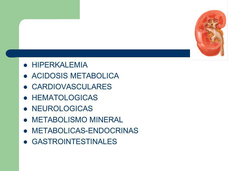 HIPERKALEMIA ACIDOSIS METABOLICA. CARDIOVASCULARES. HEMATOLOGICAS. NEUROLOGICAS. METABOLISMO MINERAL.