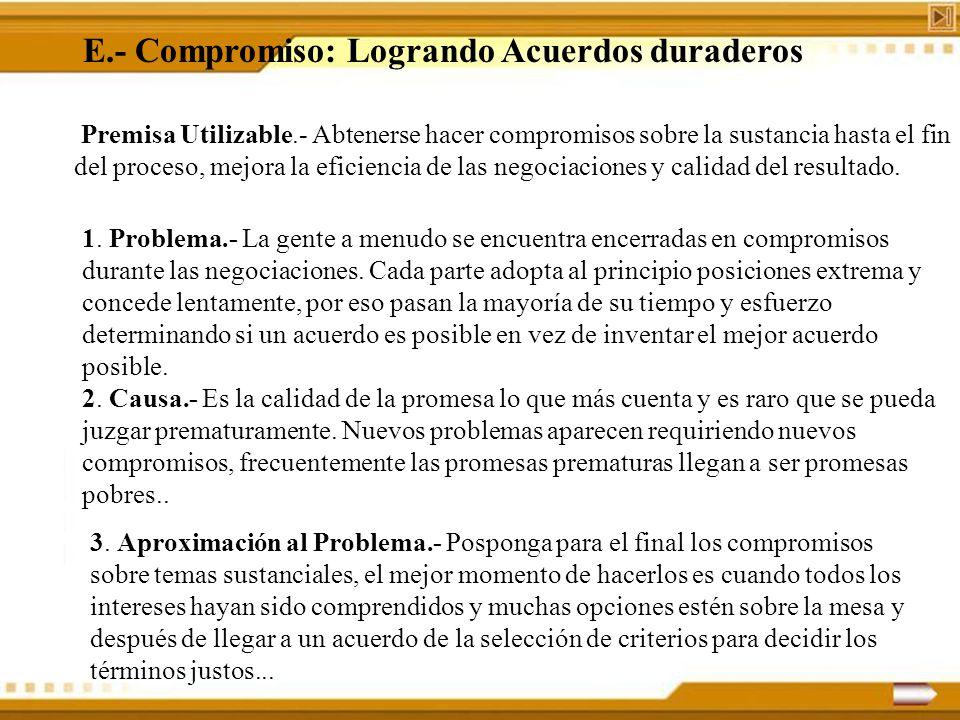 E.- Compromiso: Logrando Acuerdos duraderos